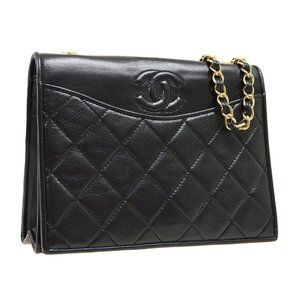 CHANEL Quilted CC Full Flap Chain Shoulder Bag